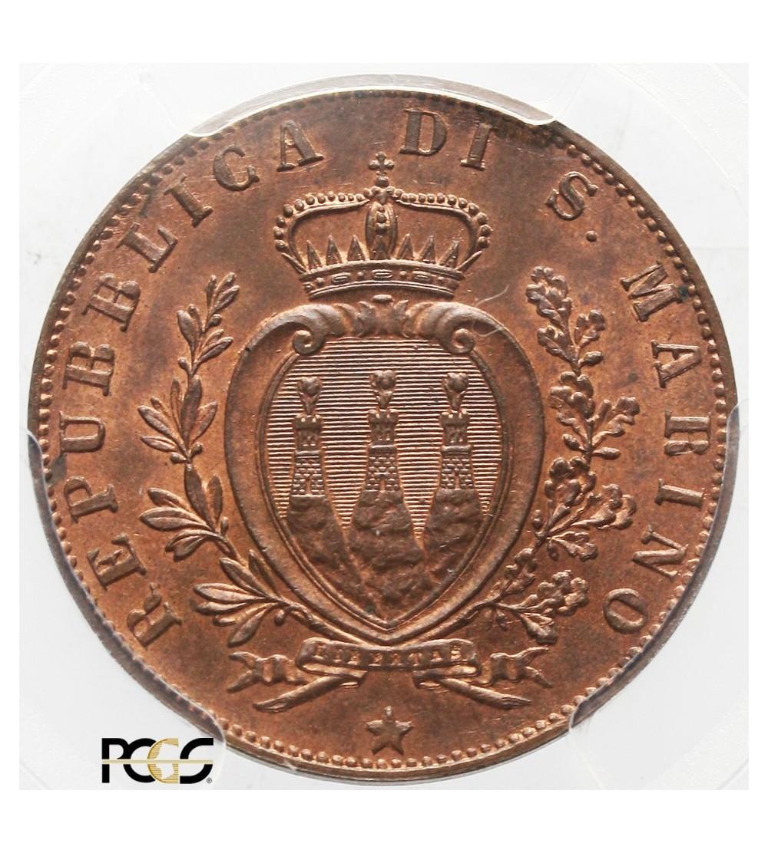 San Marino 5 centesimi 1894 R, PCGS MS 65 RB