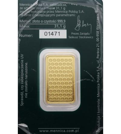 Złota sztabka Mennicy Państwowej 1 Oz Au 999,9