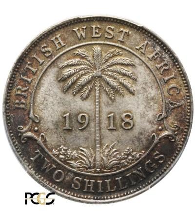 Brytyjska Afryka Zachodnia 2 szylingi 1918 H. PCGS AU 58