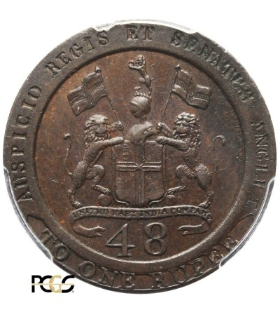 India British 1/48 Rupee 1794, Madras Presidency - PCGS AU 55