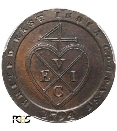 Indie Brytyjskie 1/48 rupii 1794, Madras - PCGS AU 58