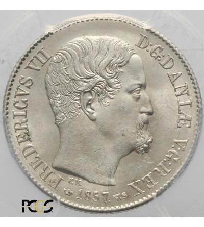 Dania 16 Skilling Rigsmont 1857 VS. PCGS MS 64