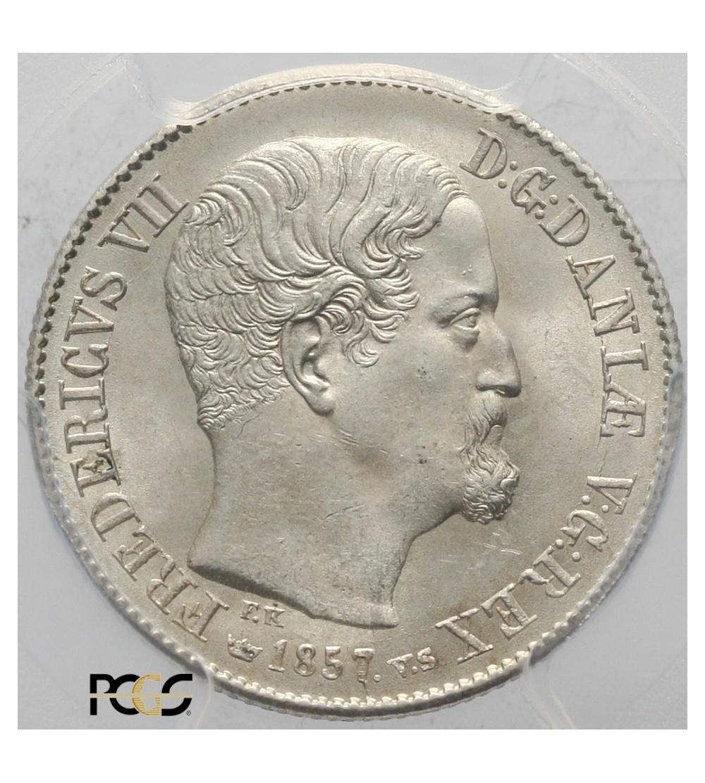 Denmark 16 Skilling Rigsmont 1857 VS. PCGS MS 64