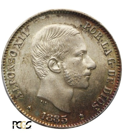 Spanish Philippines 50 Centavos 1885. PCGS MS 64