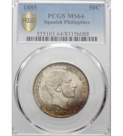 Hiszpańskie Filipiny 50 centavos 1885, PCGS MS 64