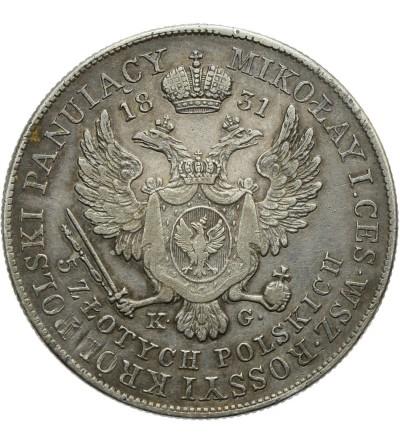Królestwo Polskie. 5 złotych 1831 KG, Warszawa