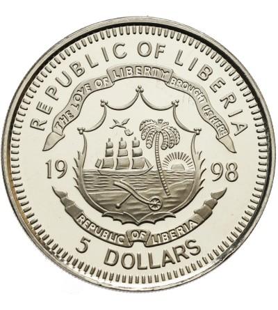 Liberia 5 dolarów 1998, rok tygrysa