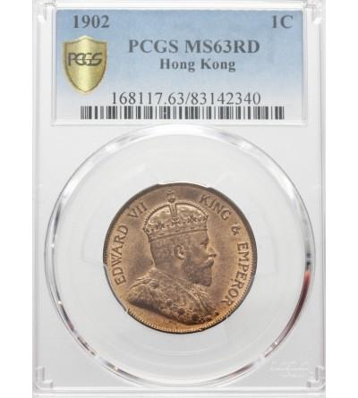 Hong Kong 1 cent 1902. PCGS MS 63RD