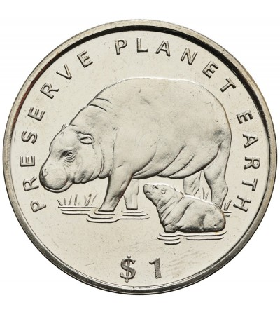 Liberia 1 dolar 1995, hipopotam