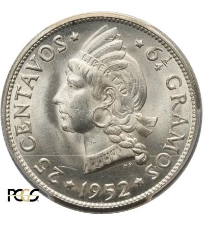 Dominican Republic 25 Centimes 1952. PCGS MS  64
