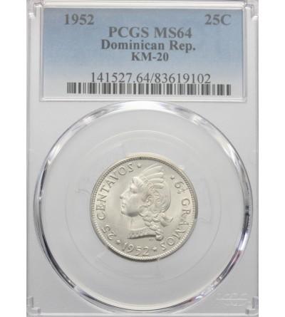 Dominikana 25 centimes 1952. PCGS MS 64