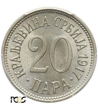 Serbia 20 Para 1917, PCGS MS 65
