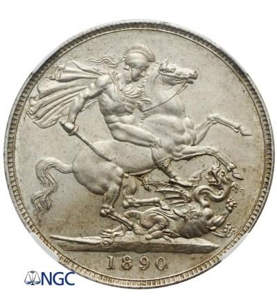 Wielka Brytania 1 korona 1890 - NGC AU 58
