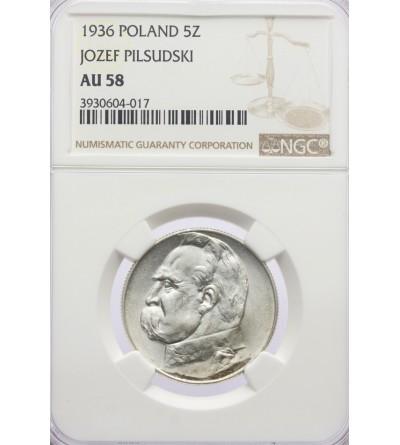 5 złotych 1938, Józef Piłsudski - NGC AU 58