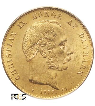 Dania 20 koron 1877 HS/CS - PCGS MS 63