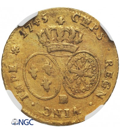 Francja 2 Louis dor au bandeau 1745 BB, Strasbourg - NGC AU 58
