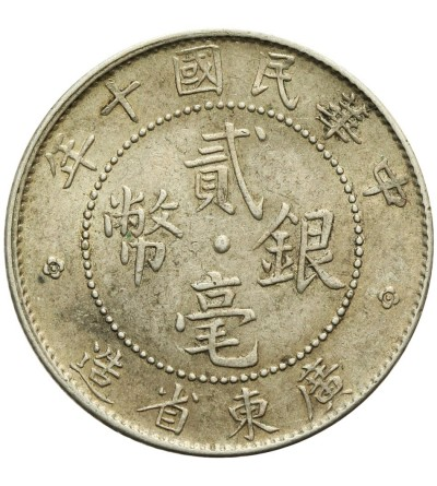 Chiny Kwangtung 20 centów 1921