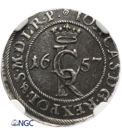 Szeląg 1657/57, Gdańsk - NGC AU 55