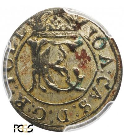 Szeląg litewski 1652, Wilno - PCGS UNC Deatails