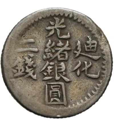 China Sinkiang. 2 Miscals (2 Mace) AH1322 / 1904 AD