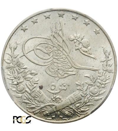 Egipt 5 Qirsh AH 1327 rok 4 / 1912 AD, Muhammad V - PCGS MS 65