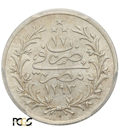 Egipt 1 Qirsh AH 1293 W rok 17 / 1891 AD, Abdul Hamid  - PCGS MS 64