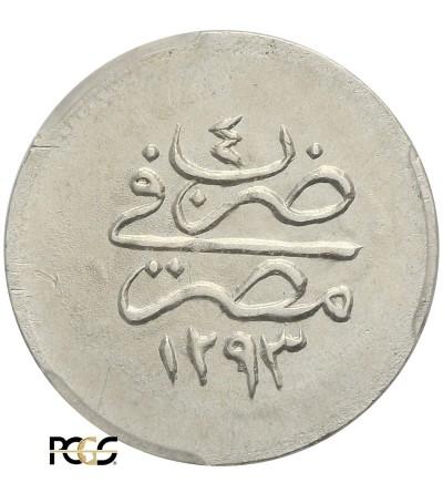 Egipt 1 Qirsh AH 1293 rok 4 / 1878 AD, Abdul Hamid - PCGS AU 58