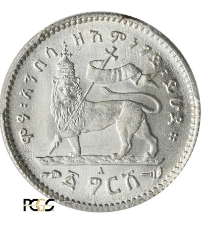 Etiopia 1 Gersh EE 1895 / 1902-1903 AD, Paryż - PCGS MS 64