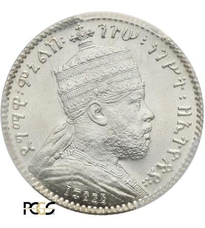 Etiopia 1 Gersh EE 1895 / 1902-1903 AD, Paryż - PCGS MS 65