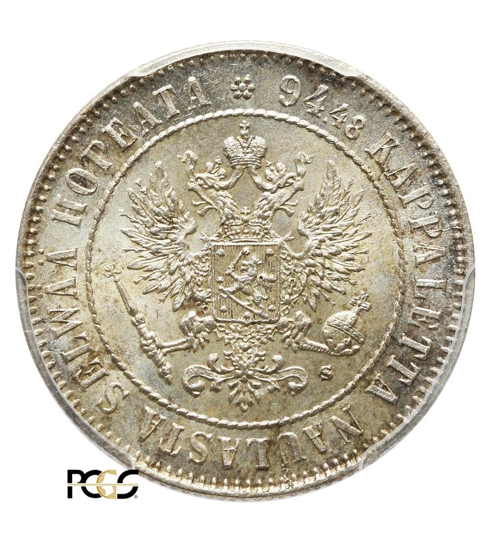 Finlandia 1 marka 1915, Mikołaj II - PCGS MS 64