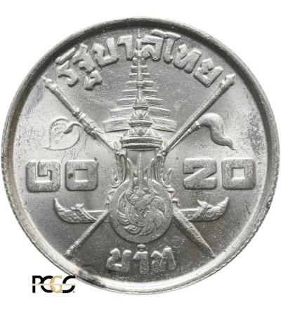 Tajlandia 20 Baht 1963, 36 urodziny króla Rama IX - PCGS MS 62