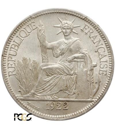 Indochiny Francuskie 1 Piastre 1922 H - PCGS MS 63