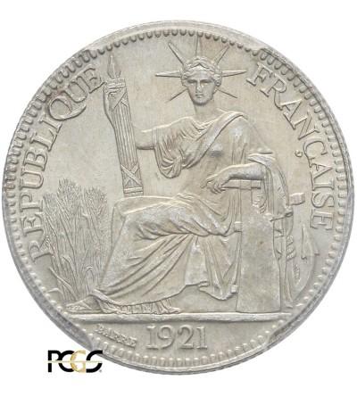 Indochiny Francuskie 10 centów 1921 A - PCGS MS 65