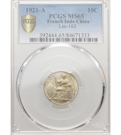French Indo-China 10 Cents 1921 A - PCGS MS 65
