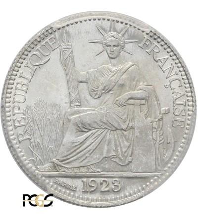 Indochiny Francuskie 10 centów 1923 A - PCGS MS 64