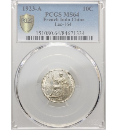French Indo-China 10 Cents 1923 A - PCGS MS 64