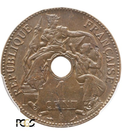 French Indo-China Cent 1897 A - PCGS MS 65 BN