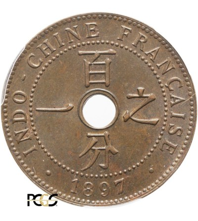Indochiny Francuskie 1 cent 1897 A - PCGS MS 65 BN