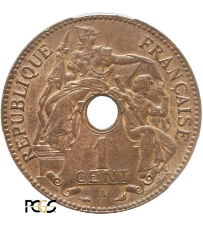 Indochiny Francuskie 1 cent 1898 A - PCGS MS 63 BN