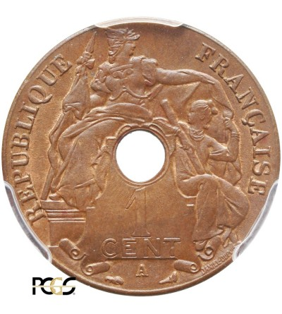 Indochiny Francuskie 1 cent 1911 A - PCGS MS 64 BN