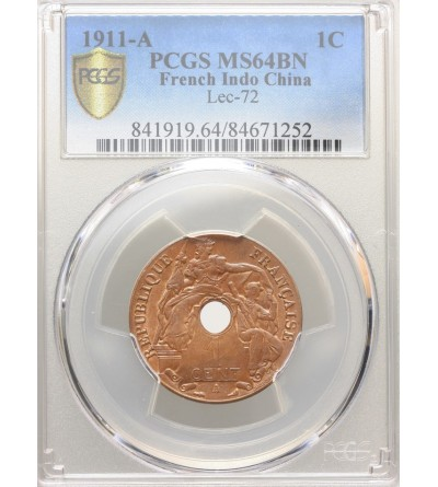 French Indo-China Cent 1911 A - PCGS MS 64 BN