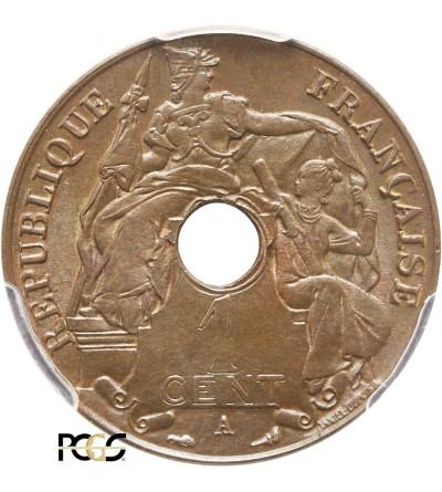 Indochiny Francuskie 1 cent 1917 A - PCGS MS 65 BN