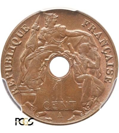 Indochiny Francuskie 1 cent 1922 A - PCGS MS 65 BN