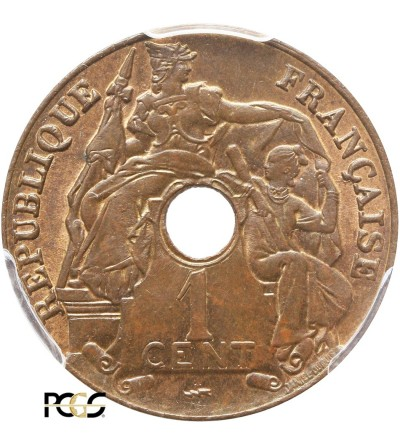 Indochiny Francuskie 1 cent 1922, Poissy - PCGS MS 64 BN