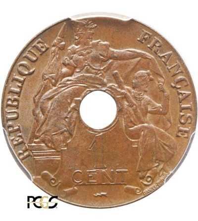Indochiny Francuskie 1 cent 1923, Poissy -  PCGS MS 65 BN