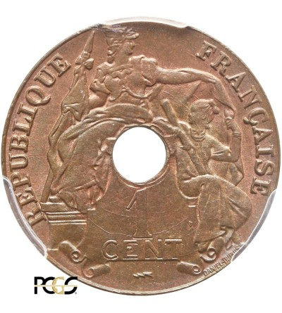 Indochiny Francuskie 1 cent 1923, Poissy -  PCGS MS 66 BN