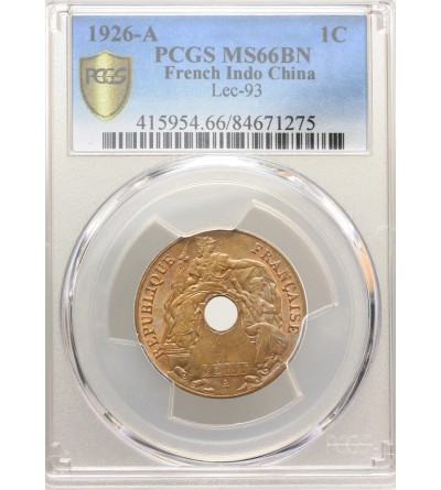 French Indo-China Cent 1926 A - PCGS MS 66 BN