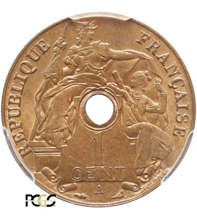 Indochiny Francuskie 1 cent 1930 A - PCGS MS 64 RB