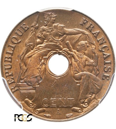 Indochiny Francuskie 1 cent 1938 A - PCGS MS 66 RB