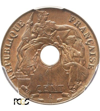 Indochiny Francuskie 1 cent 1938 A - PCGS MS 65 RB
